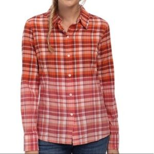 PrAna Dip Ombré Button Down Organic Cotton Shirt